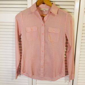 LOFT Pink and Black Polka Dot Button Down Shirt